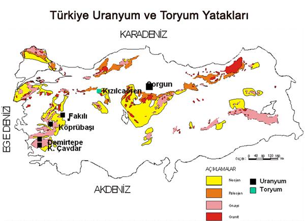 Türkiye Toryum Yatakları Haritası